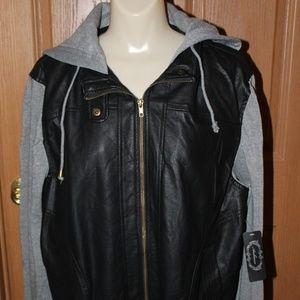 Black/Gray Hooded Faux Leather w/Knit L/S Jacket